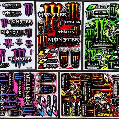 60x Monster ENERGY DRINK, Aufkleber Sticker, ATV SUPERCROSS